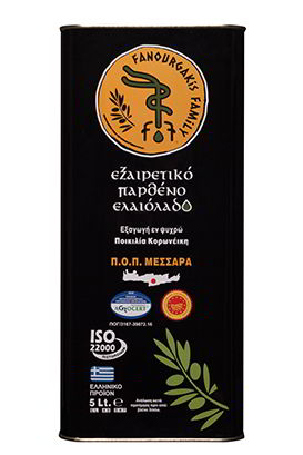Extra Virgin Olive Oil Tin Can 5L. - Fanourgakis Family Organic PDO